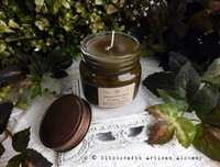 "SMOLDERING OUD ""Simply Elegant"" Soy Paraffin Wax Blend Glass Jar Candle with Antique Brown Metal Lid"