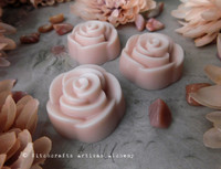 FRENCH ROSE Highly Scented Soft Dusty Blush Pink Elegant Rose Shape Wax Melts, Set of 3