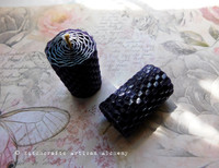 Natural Hemp Wick Hand Rolled Dark Purple Honeycomb Beeswax Knubby Spell Candles, One Pair