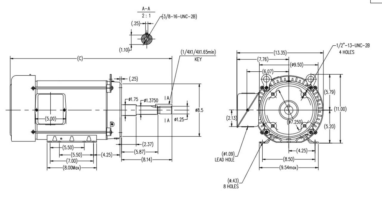 GT3415 Marathon 7 1/2 hp 3600 RPM 213JP Frame 230/460V