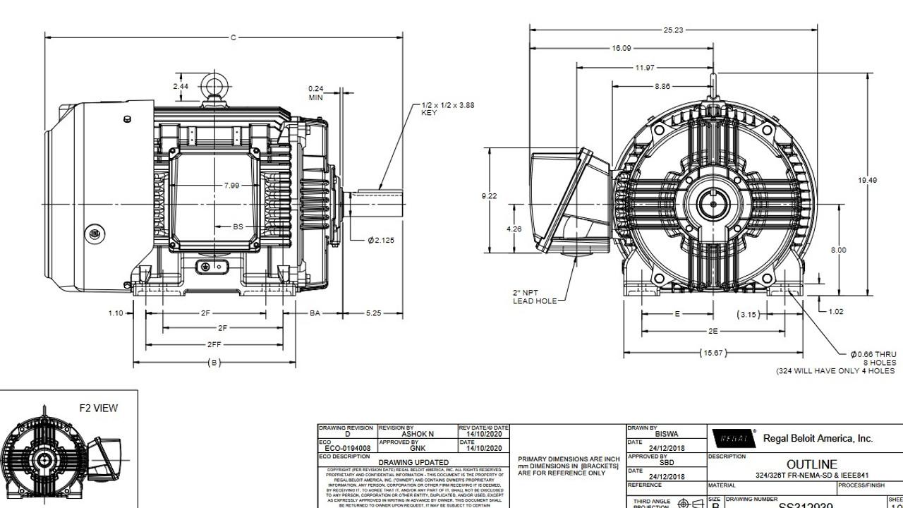 W569A Marathon Severe Duty 30 hp 1200 RPM 460V 3-Phase