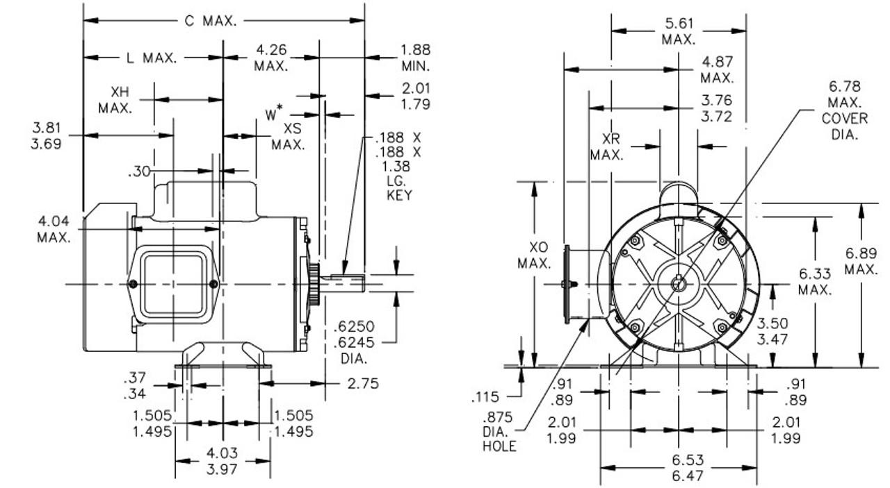 1/3 hp 1800 RPM 56 Frame 115/230V Totally Enclosed