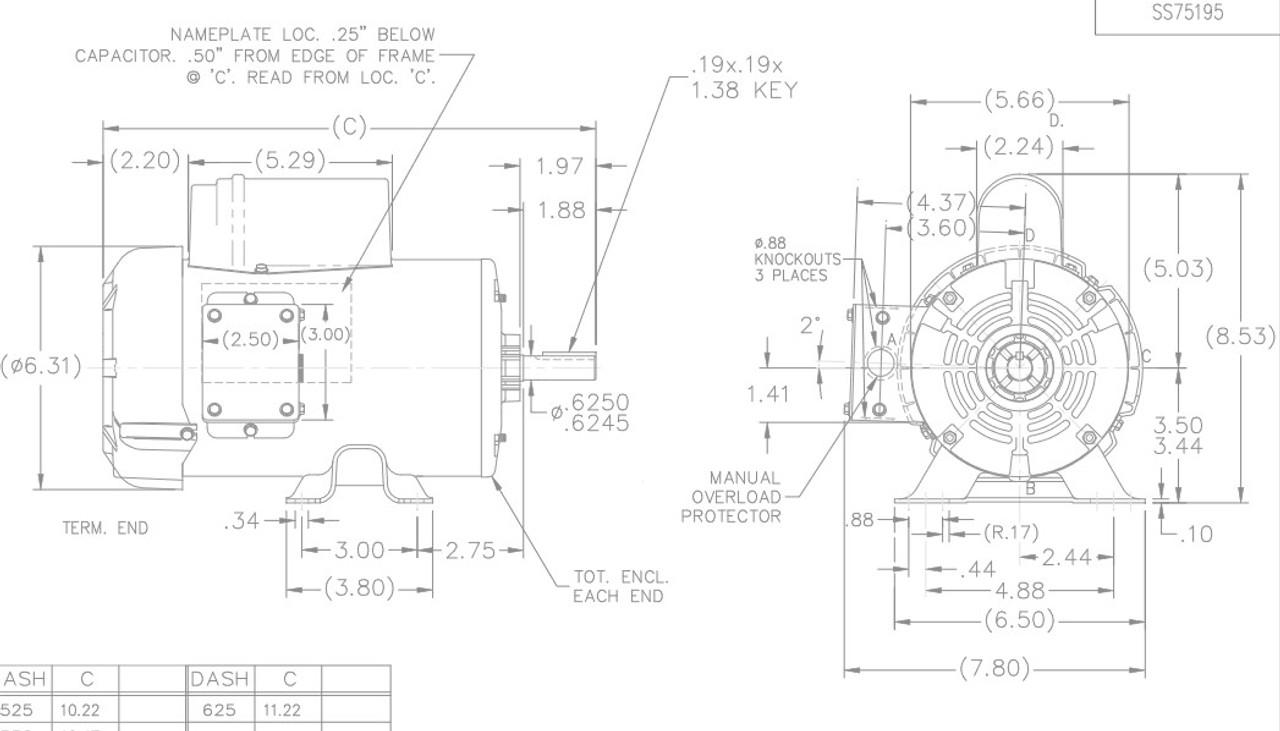G339 Marathon 1/2 hp 1800 RPM 56 Frame 115/208-230V