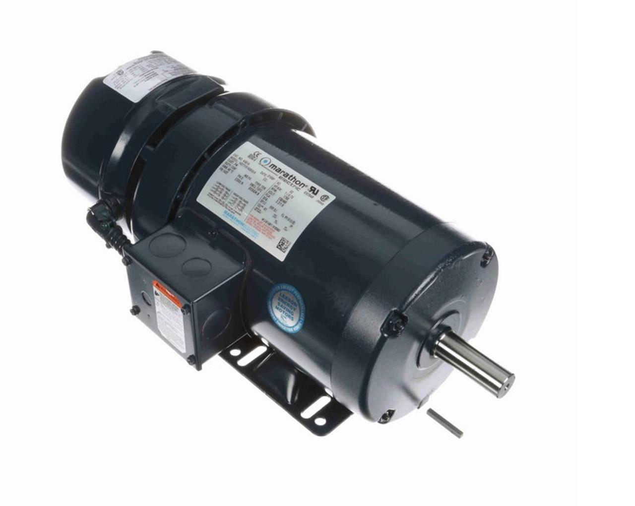 1 hp 3 phase 1800 RPM 56C Frame 230//460V TEFC Marathon Electric Brake Motor # K438