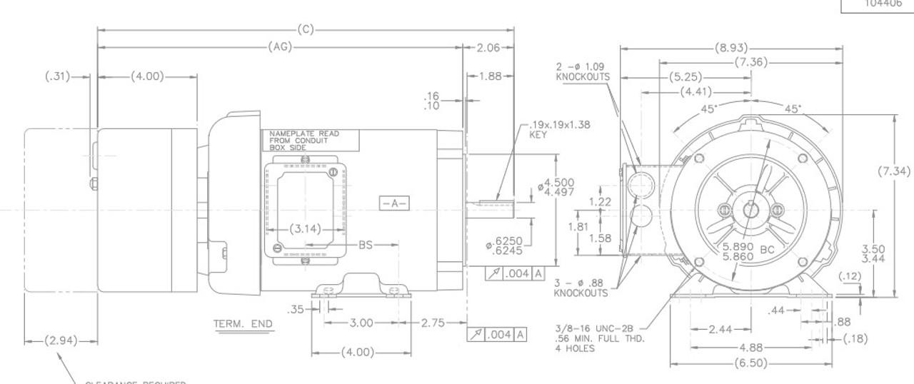 1/2 hp 3 phase 1200 RPM 56C Frame 208-230/460V TEFC ...