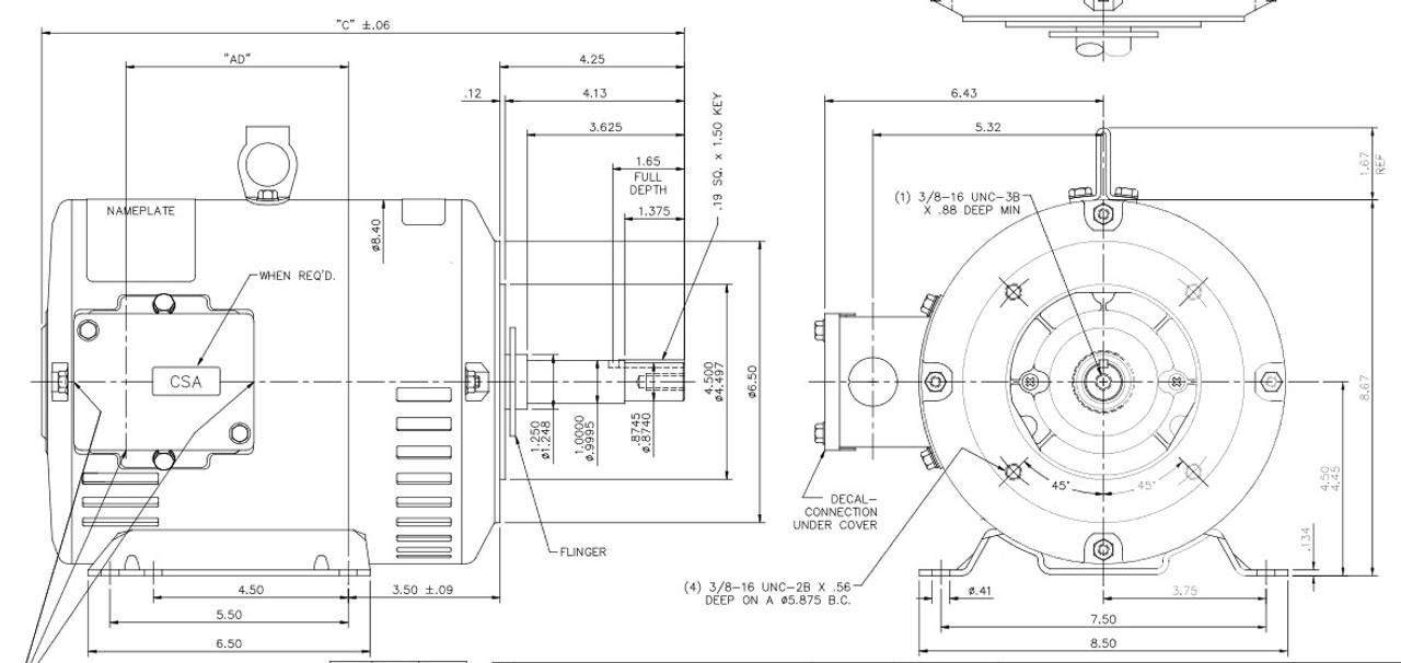 M315C Marathon 5 hp 3 phase 3600 RPM 182JM Frame 230/460V