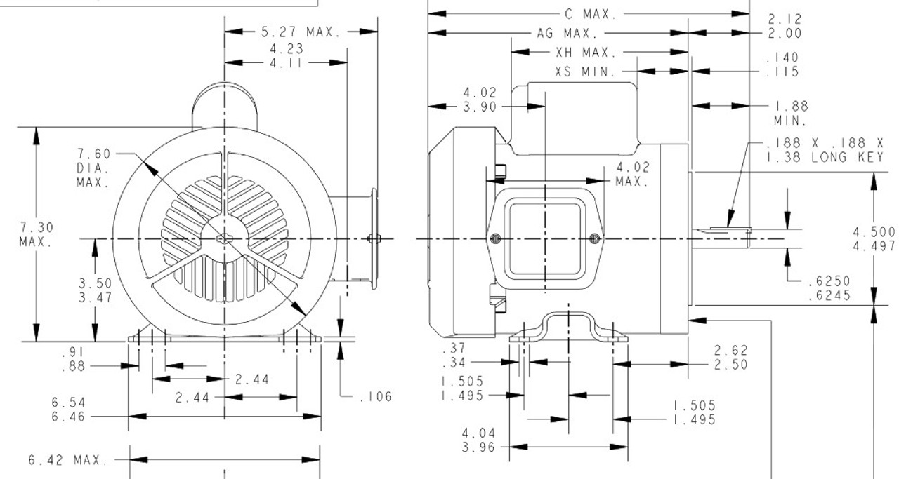 1 hp 3600 RPM 56C Frame TEFC 115/208V Marathon Electric