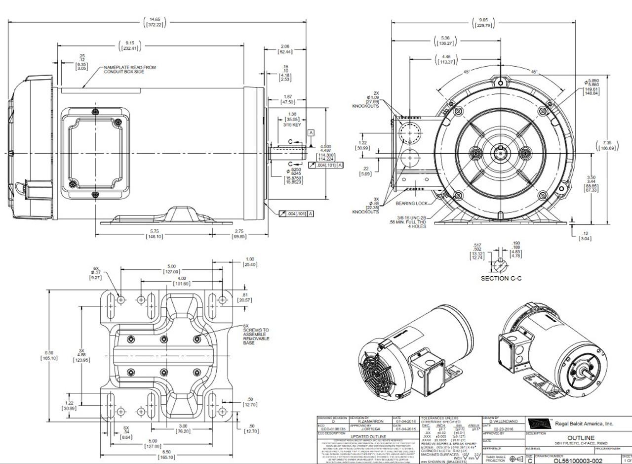 G584A Marathon 1 1/2 hp 1800 RPM 3-Phase 56C Frame TEFC