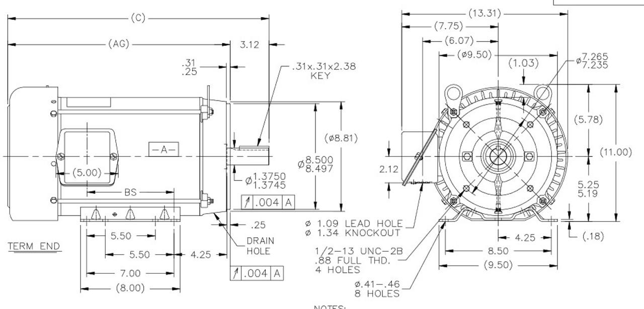 C388B Marathon 3-Phase 215TC Frame TEFC (base) 208-230