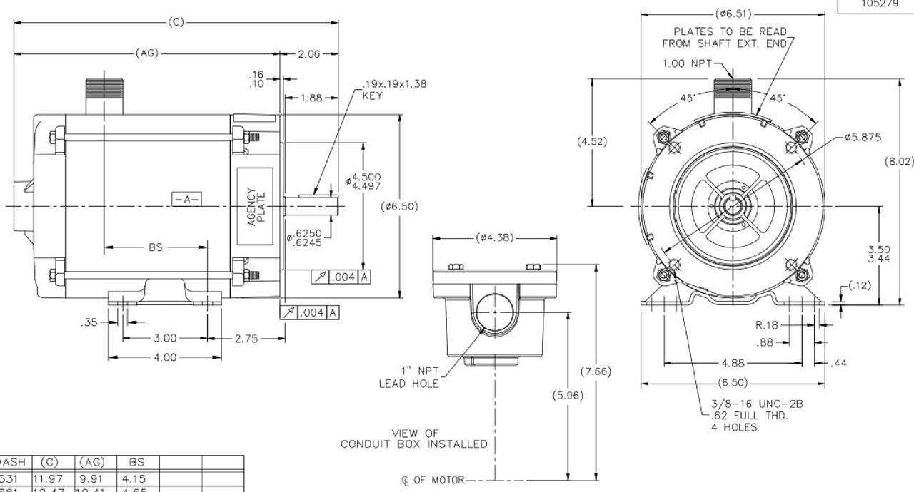 Y602 Marathon 1/2 hp 1800 RPM 3-Phase 56C Frame TENV