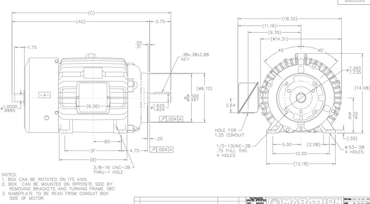 Y598 Marathon 20 hp 1800 RPM 3-Phase 256TC Frame TEFC