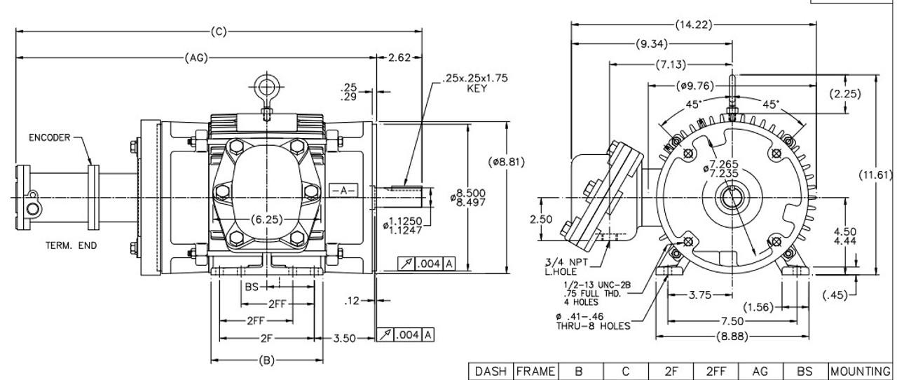 Y980 Marathon 3 hp 1800 RPM 3-Phase 182TC Frame TENV