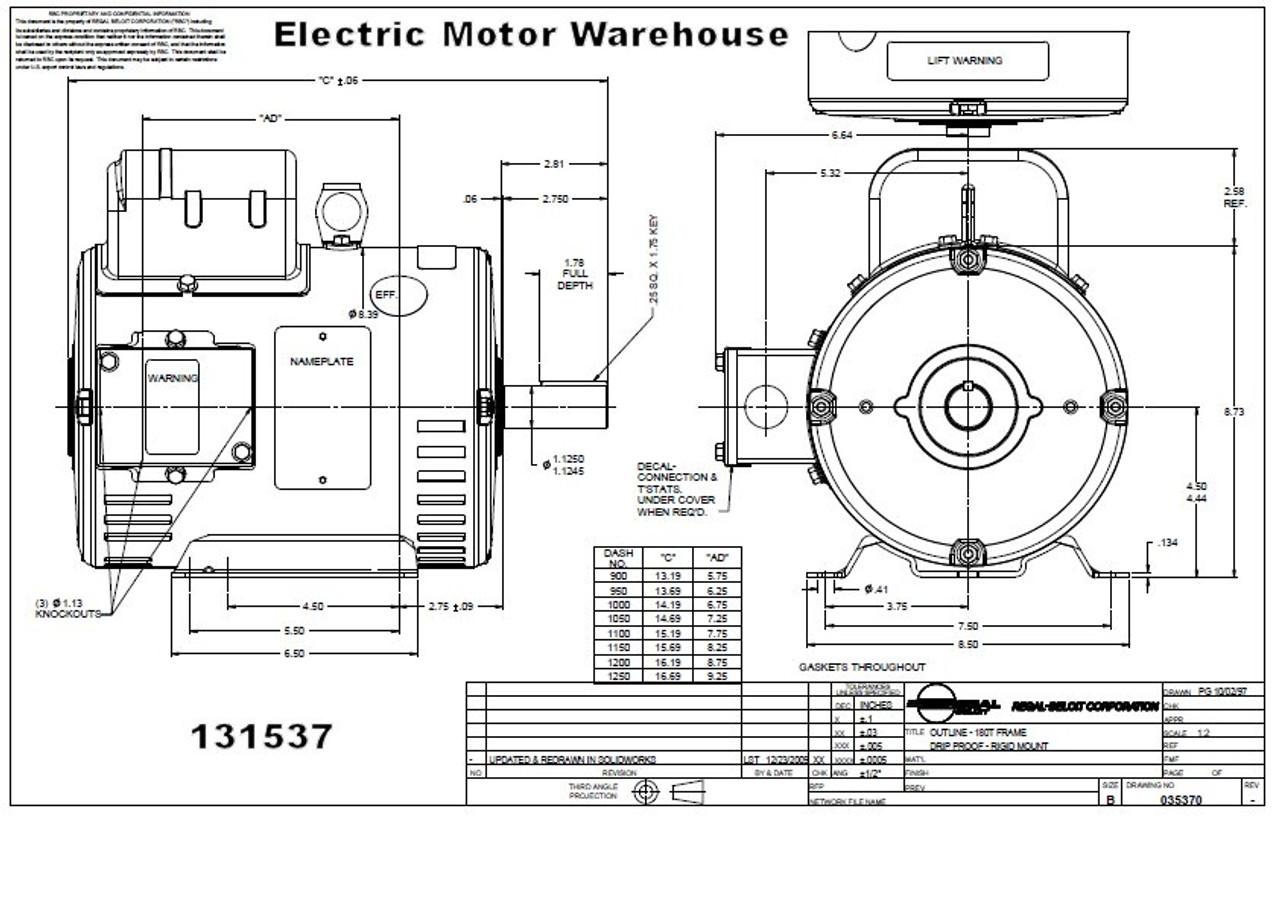 5 hp 1800 RPM 184T Frame ODP 230V Leeson Motor # 131537