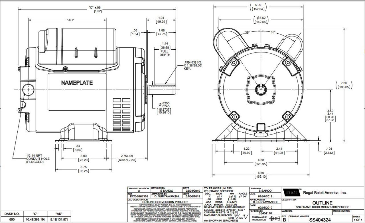1/4 hp 1725 RPM 56 Frame 115/208-230 Volts Open Drip