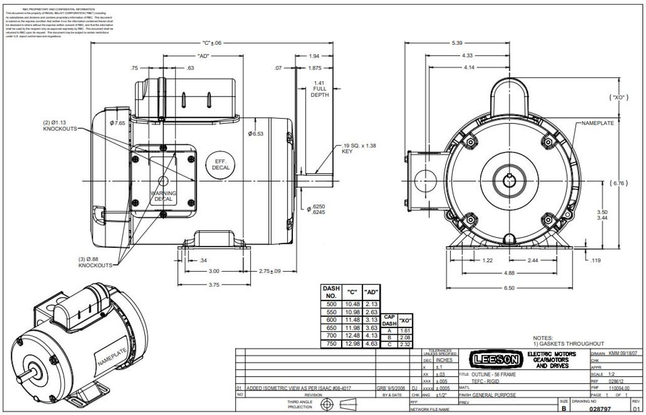 3/4 hp 3450 RPM 56 Frame TEFC 115/208-230 Volts Leeson