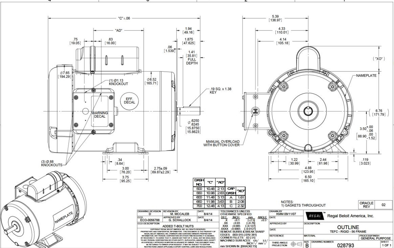 3/4 hp 1725 RPM 56 Frame TEFC 115/208-230 Volts Leeson