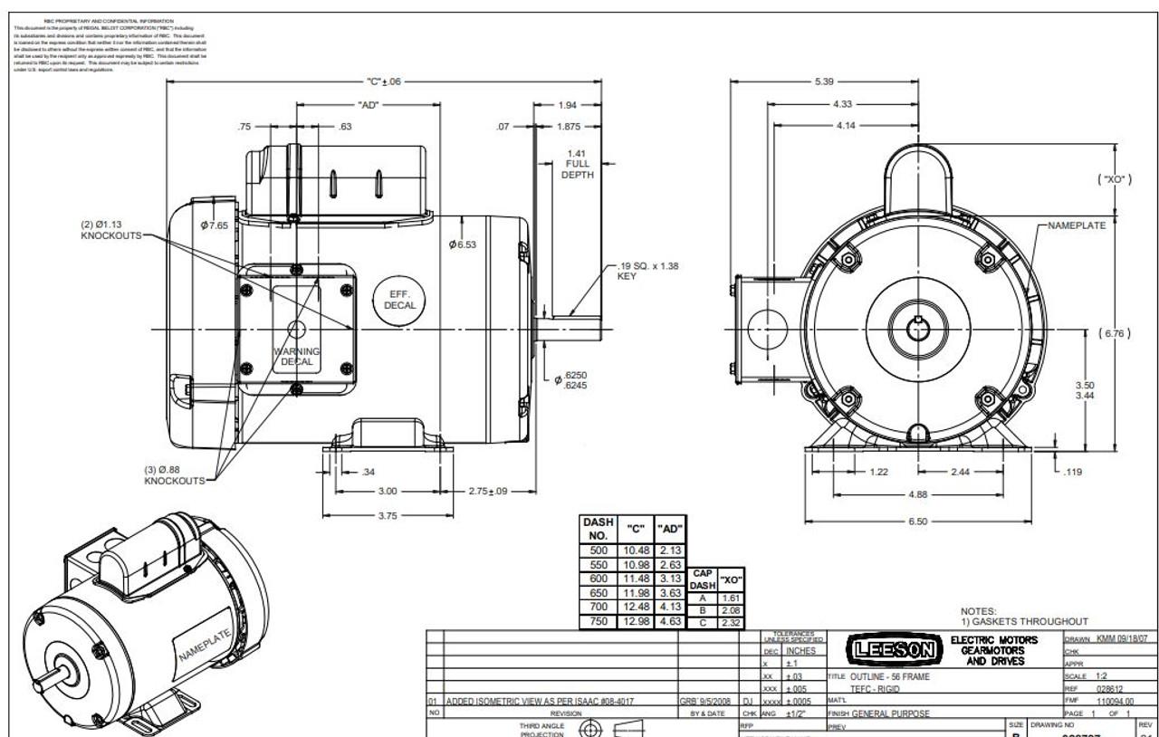 1 hp 3450 RPM 56 Frame TEFC 115/208-230 Volts Leeson