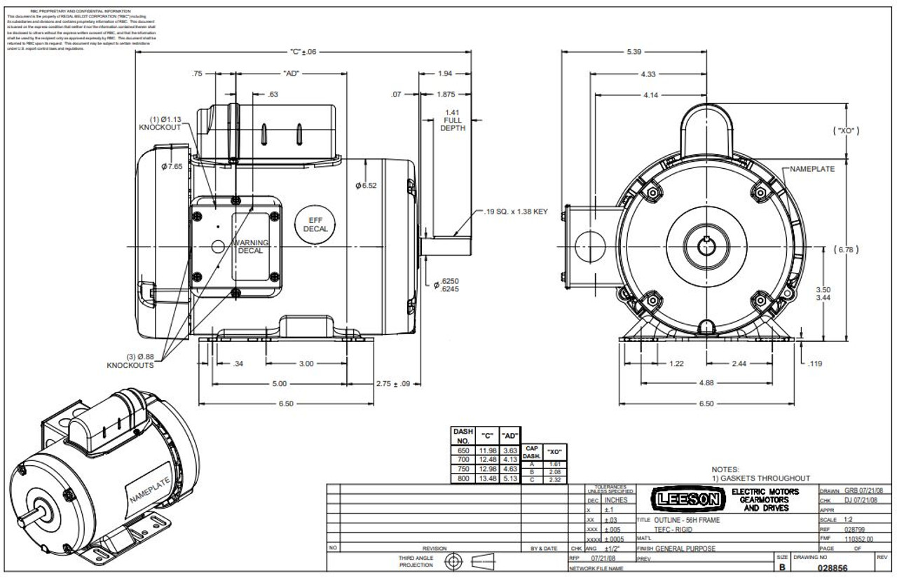 2 hp 3450 RPM 56H Frame TEFC 115/208-230 Volts Leeson