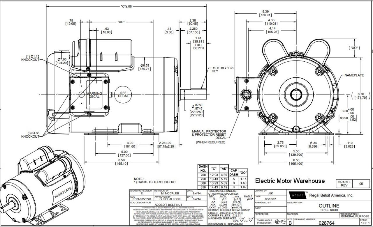 2 hp 1725 RPM 145T Frame TEFC 115/208-230 Volts Leeson