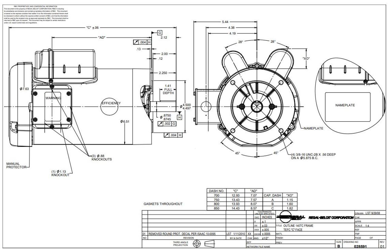3 hp 3600 RPM 145TC Frame TEFC C-Face (no base) 230V ...