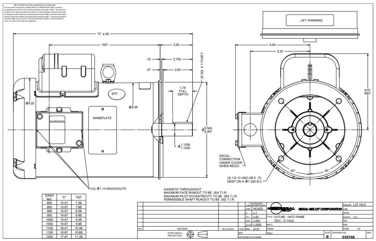 5 hp 3600 RPM 184TC Frame TEFC C-Face (no base) 230V