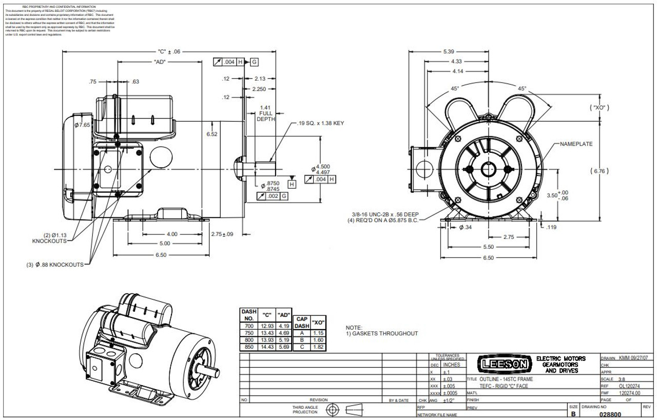 3 hp 3600 RPM 145TC Frame TEFC C-Face- Rigid Base 230V