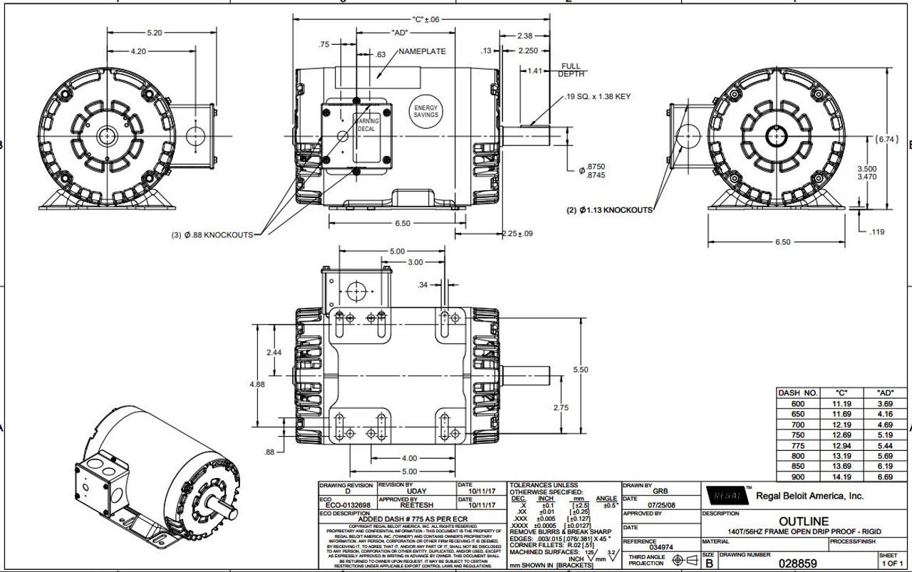 1.5 hp 1725 RPM 145T Frame 208-230/460 Volts Open Drip