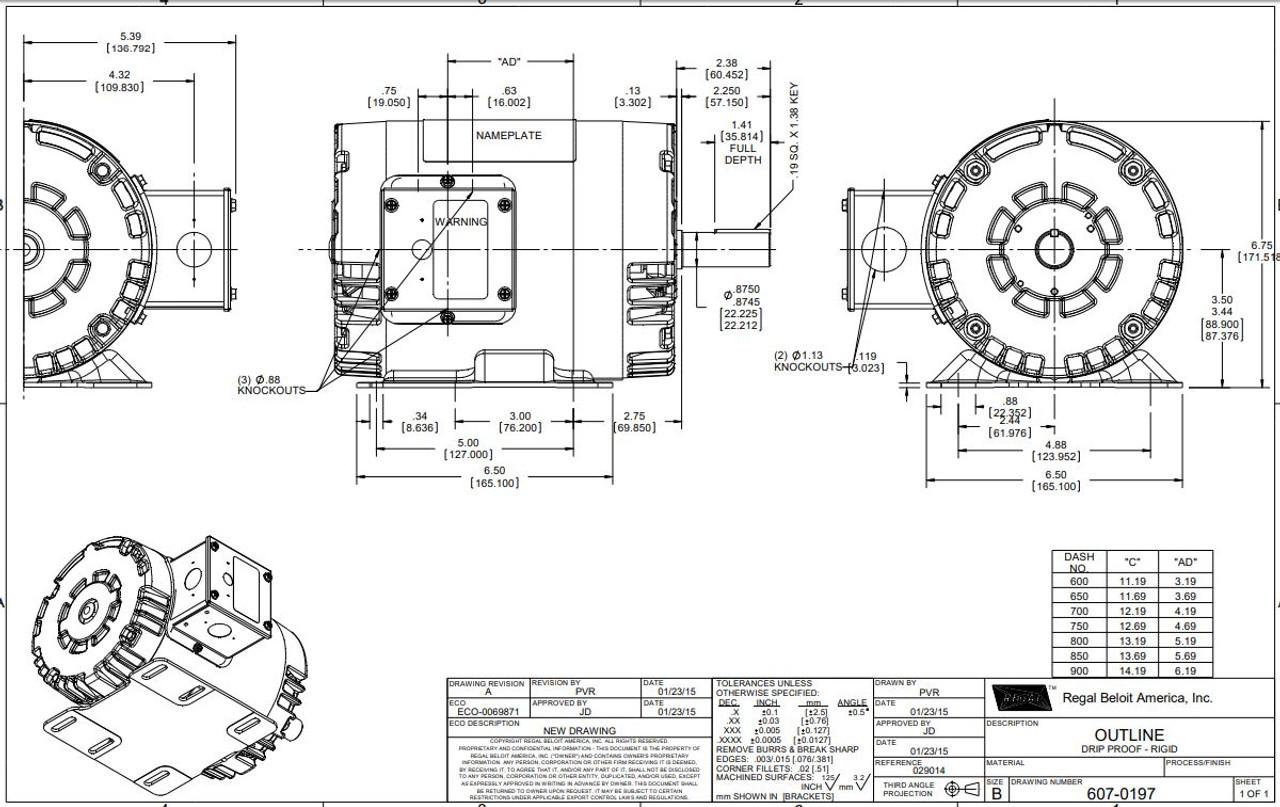 2 hp 1725 RPM 56HZ (143T) Frame 230/460 Volts Open Drip