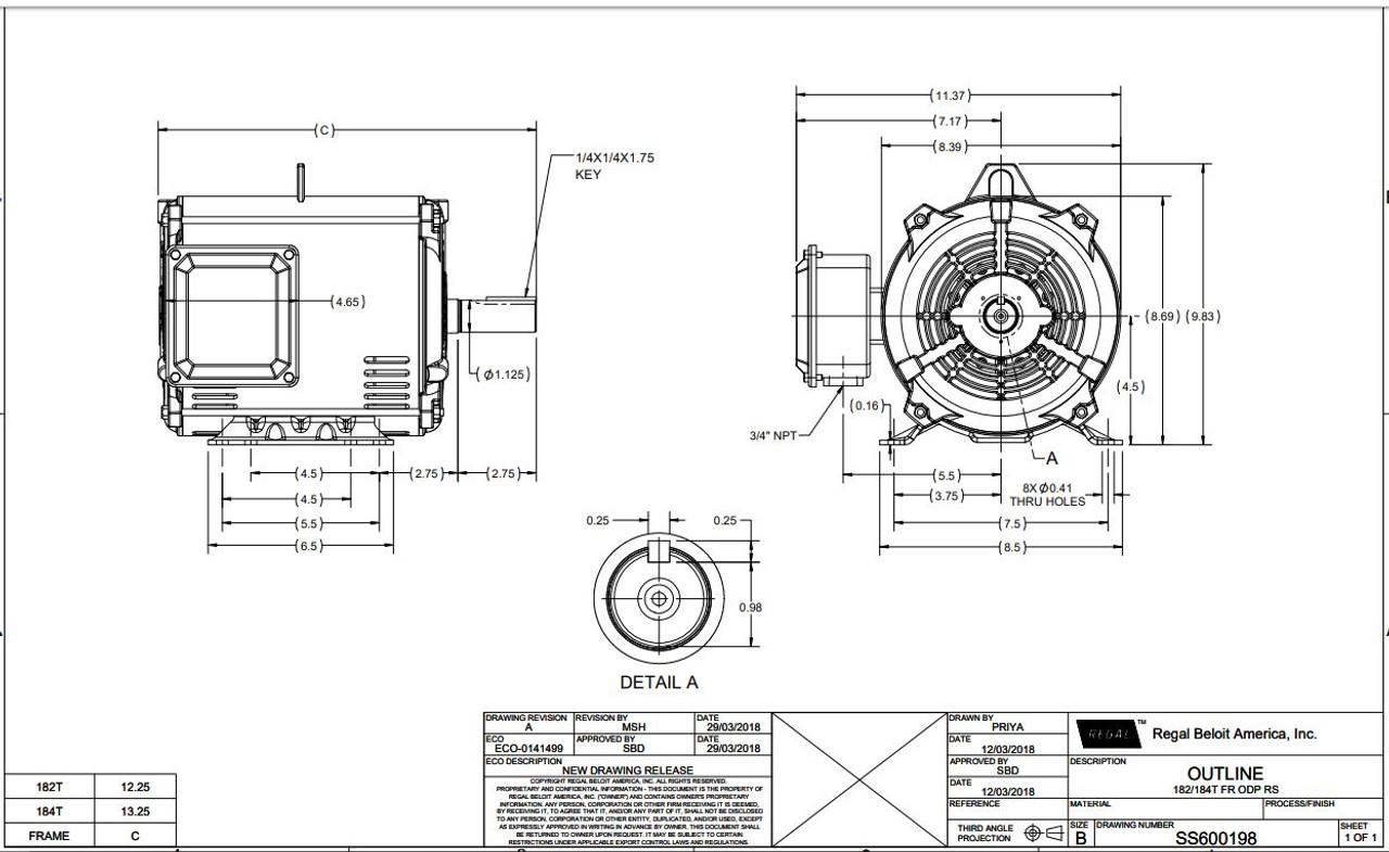 3 hp 1800 RPM 182T Frame 230/460V Open Drip Marathon