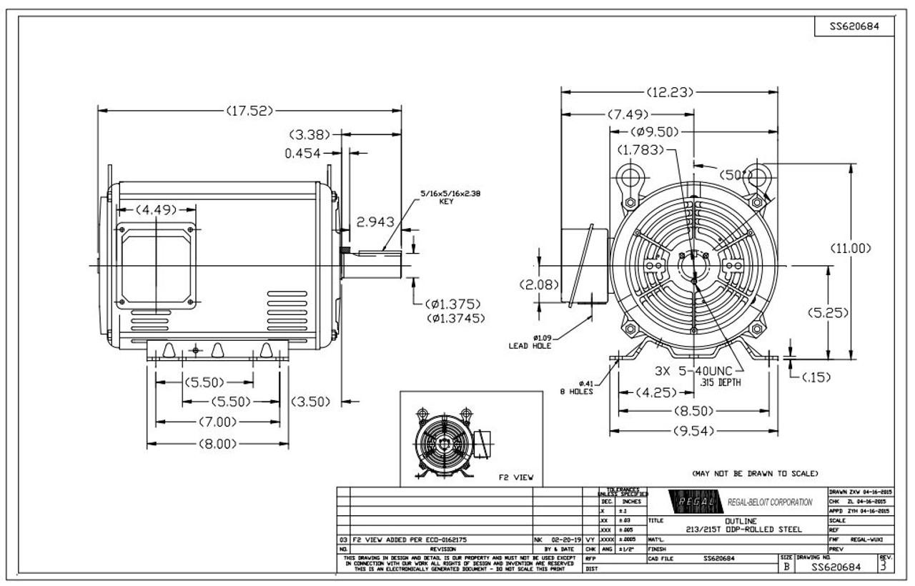 3 hp 1200 RPM 213T Frame 230/460V Open Drip Marathon
