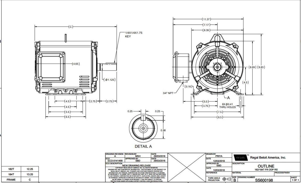 7.5 hp 3600 RPM 184T Frame 230/460V Open Drip Marathon