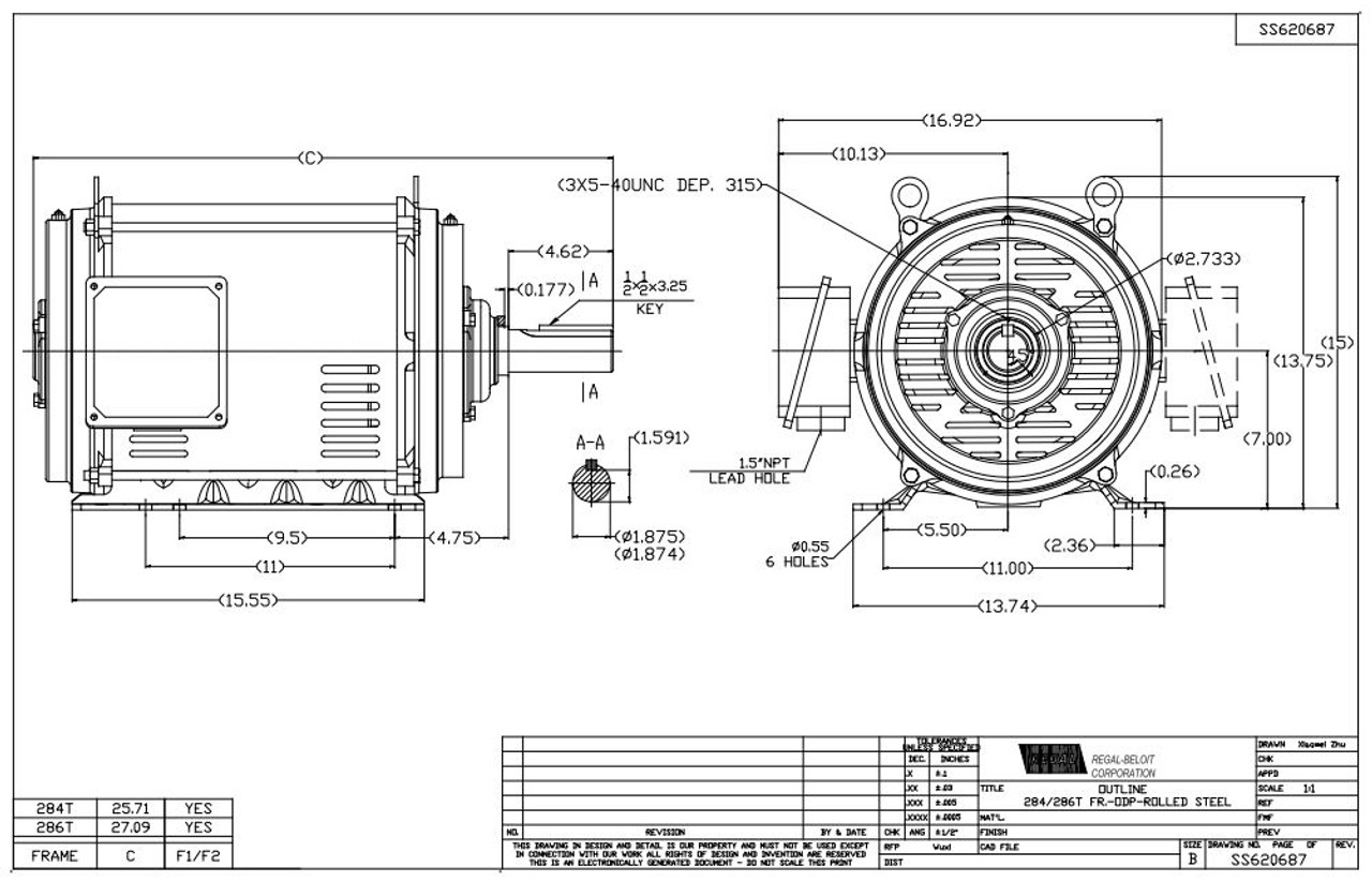 25 Hp 1800 Rpm 284t Frame 230  460v Open Drip Marathon Electric Motor   Gt0065