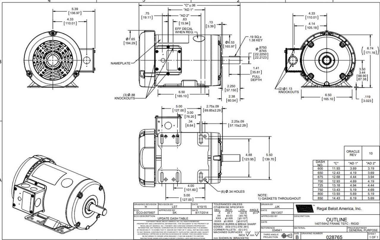 2 hp 1800 RPM 145T Frame 230/460 Volts TEFC Leeson
