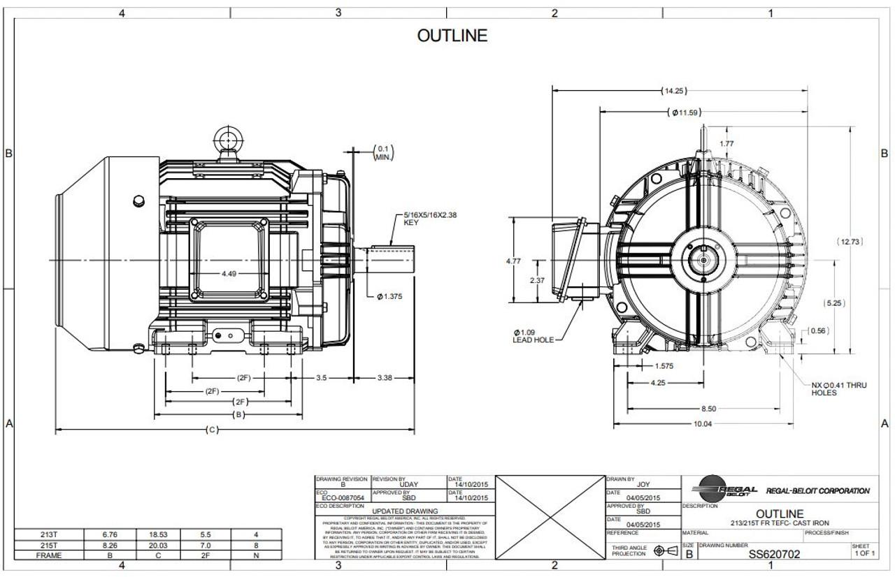 5 hp 1200 RPM 215T Frame 230/460V TEFC Marathon Electric
