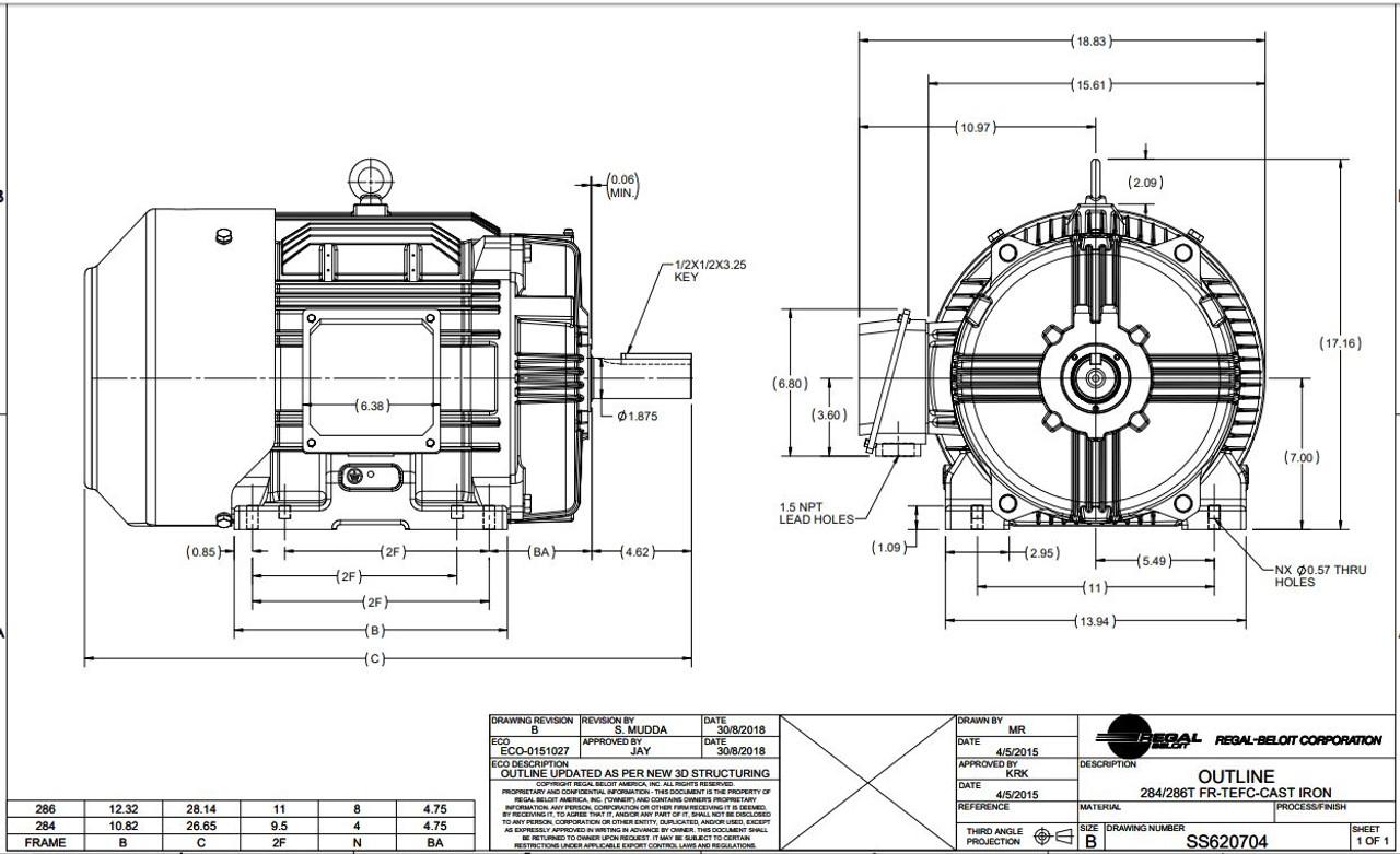 GT1031A Marathon 30 hp 1800 RPM 286T Frame 230/460V TEFC