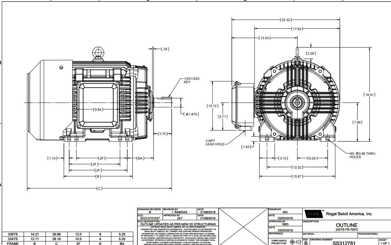 50 hp 3600 RPM 326TS Frame 230/460V TEFC Marathon Electric