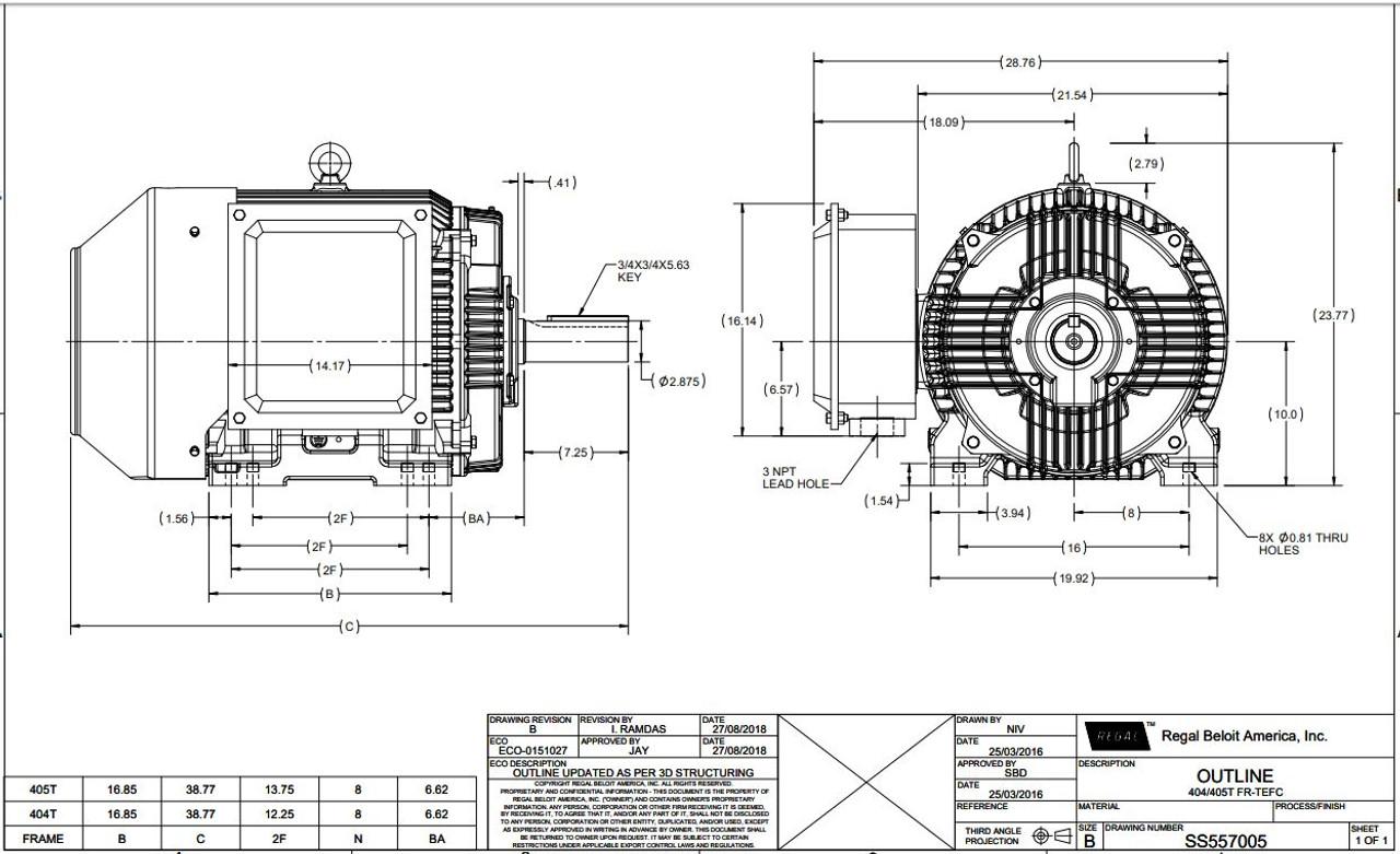 GT1046A Marathon 100 hp 1800 RPM 405T Frame 230/460V TEFC