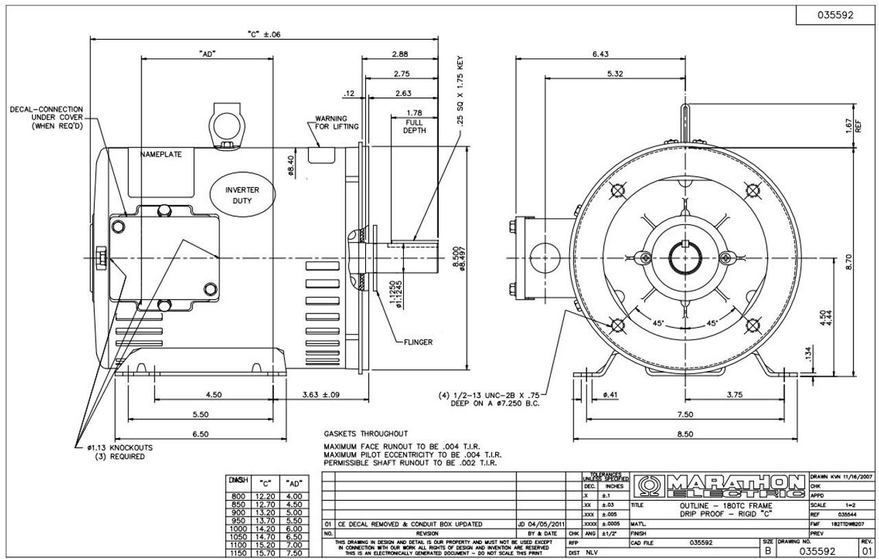 U410A Marathon 3 hp 1800 RPM 182TC Frame ODP C-Face (rigid