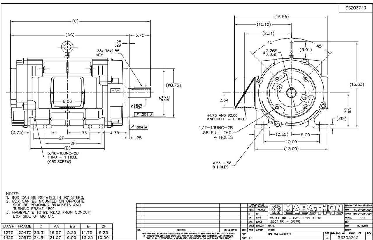 15 hp 1760 RPM 254TC Frame ODP C-Face (rigid Base) 208-230
