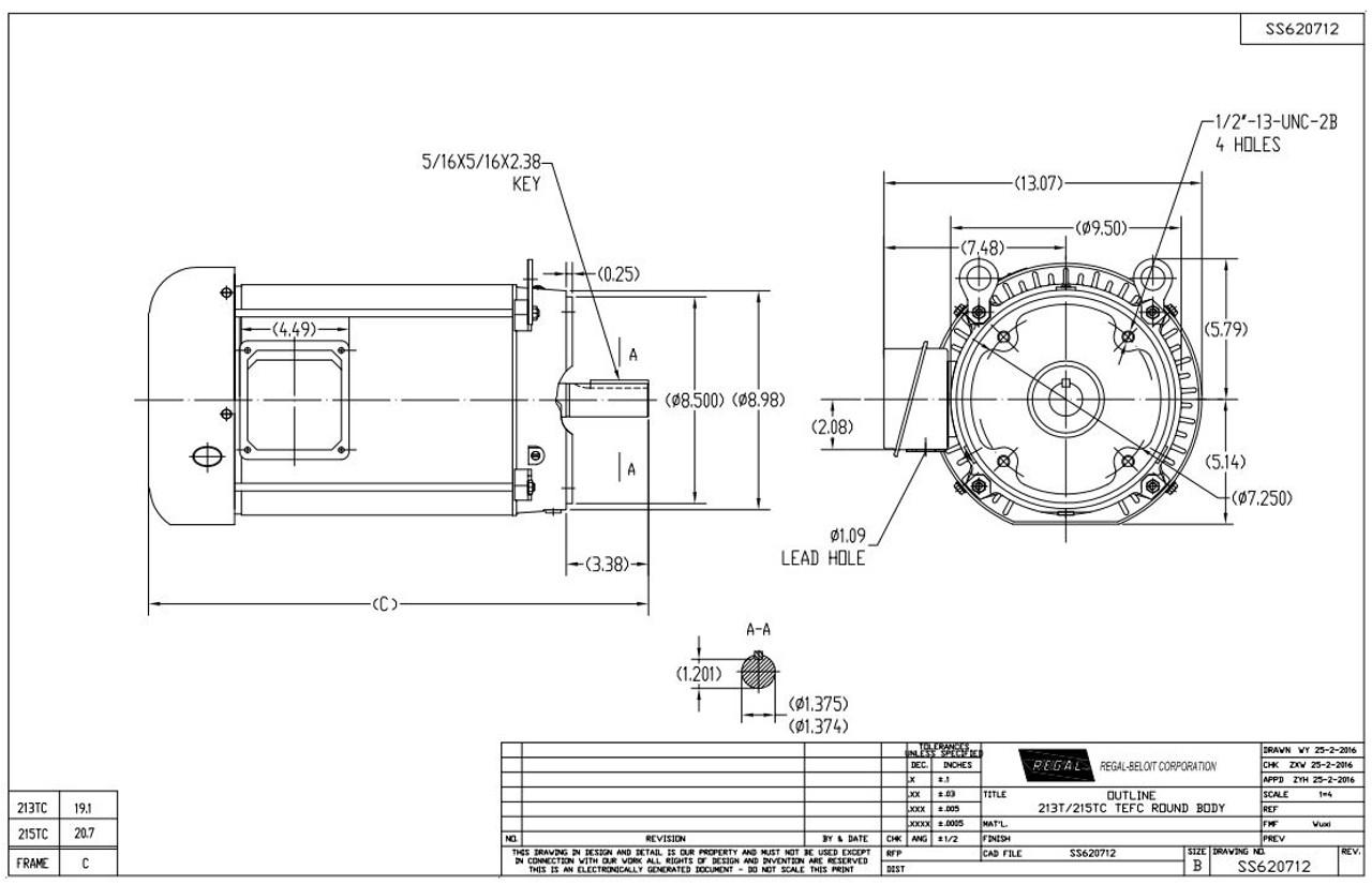 5 hp 1200 RPM 215TC Frame TEFC C-Face (No Base) 230/460V