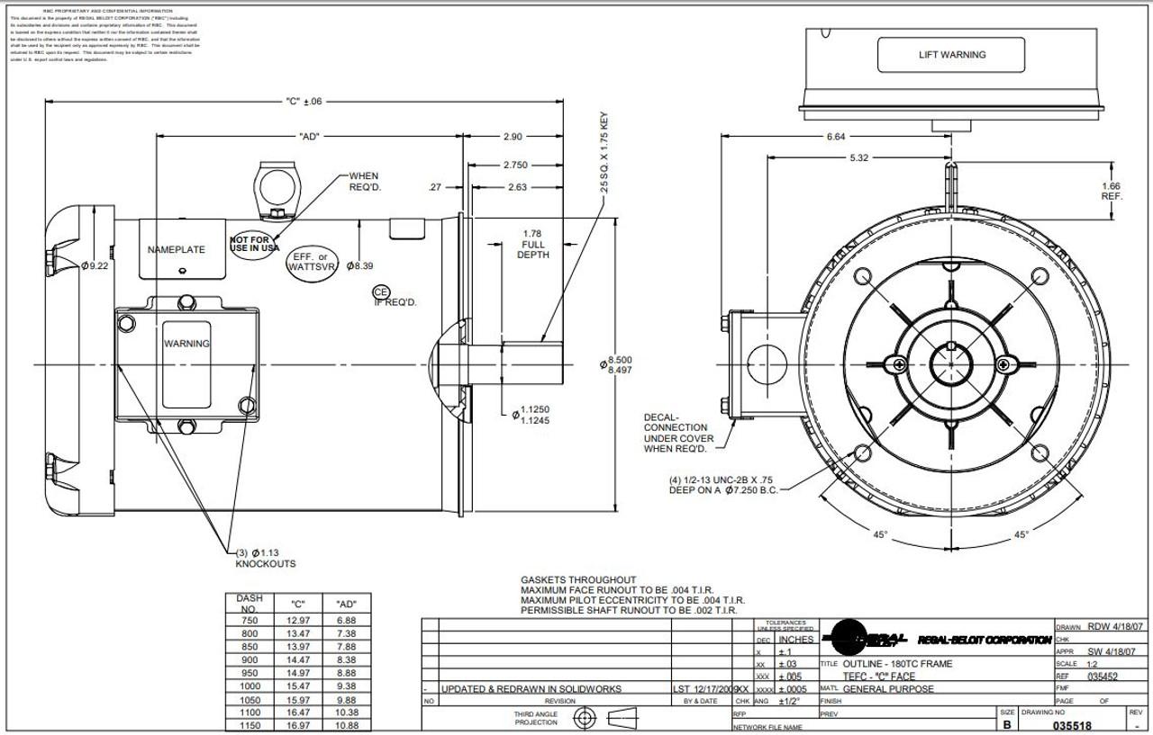 7.5 hp 3600 RPM 184TC Frame TEFC C-Face (No Base) 230/460V