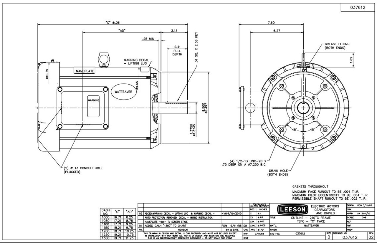 7.5 hp 1800 RPM 213TC Frame TEFC C-Face (No Base) 230/460V