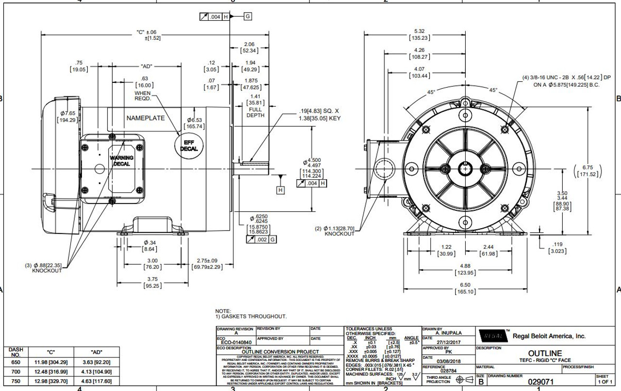 2 hp 3600 RPM 56C Frame TEFC C-Face (Rigid Base) 230/460V
