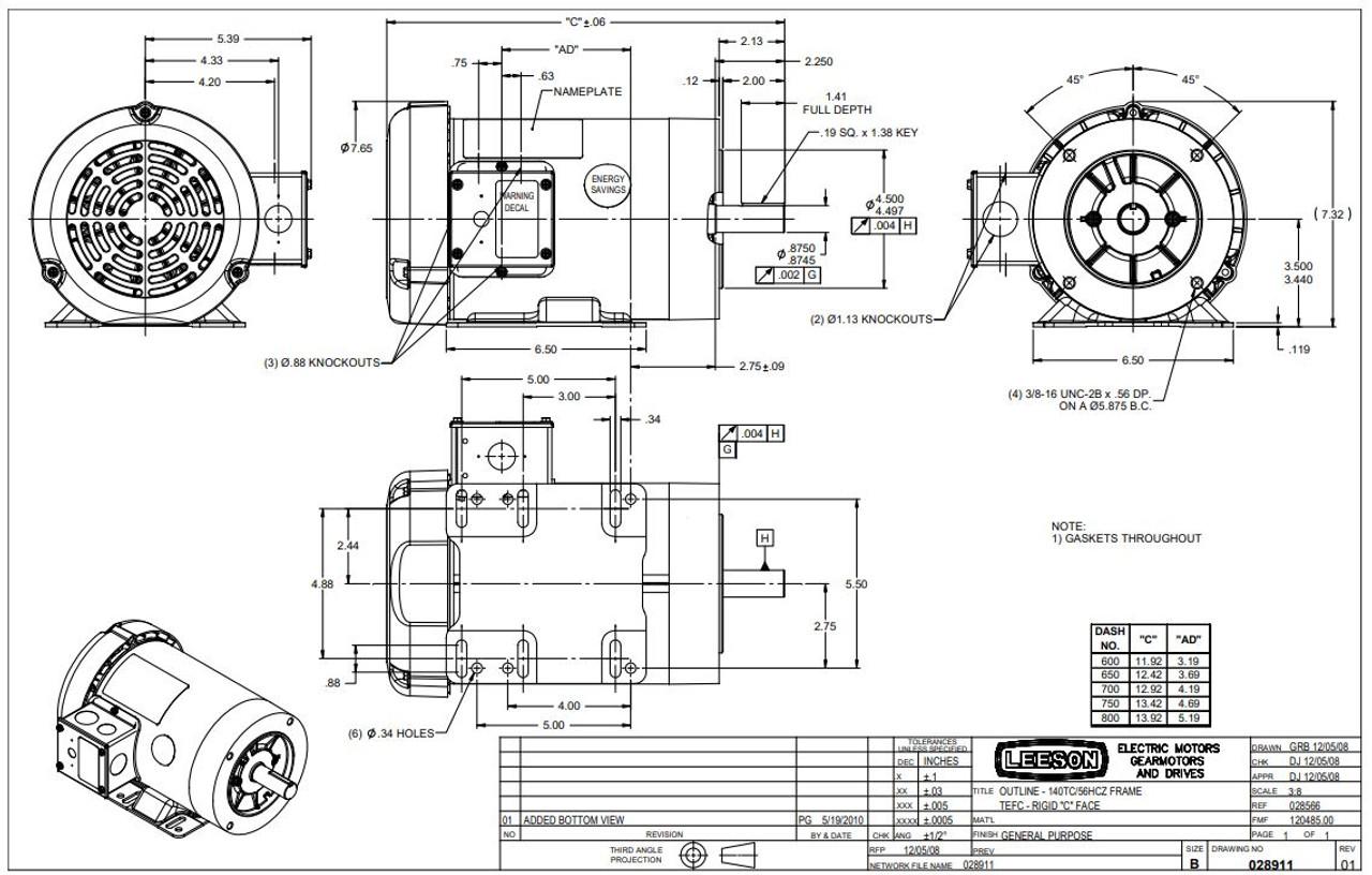 3 hp 3600 RPM 145TC Frame TEFC C-Face (Rigid Base) 230