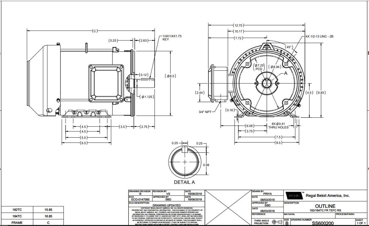 3 hp 1800 RPM 182TC Frame TEFC C-Face (Rigid Base) 230