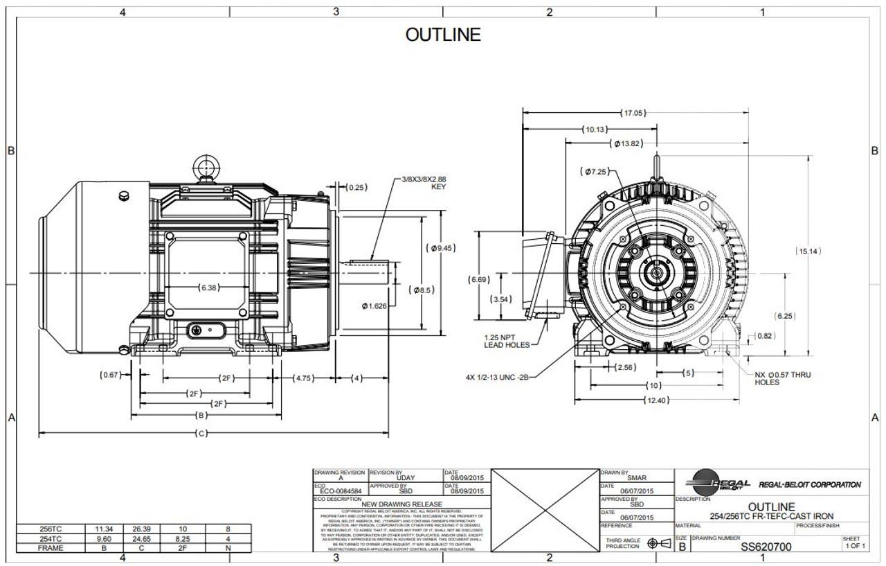 15 hp 1800 RPM 254TC Frame TEFC C-Face (Rigid Base) 230