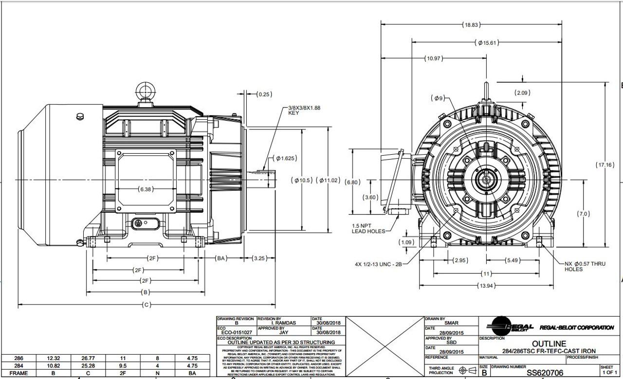 25 hp 3600 RPM 284TSC Frame TEFC C-Face (Rigid Base) 230