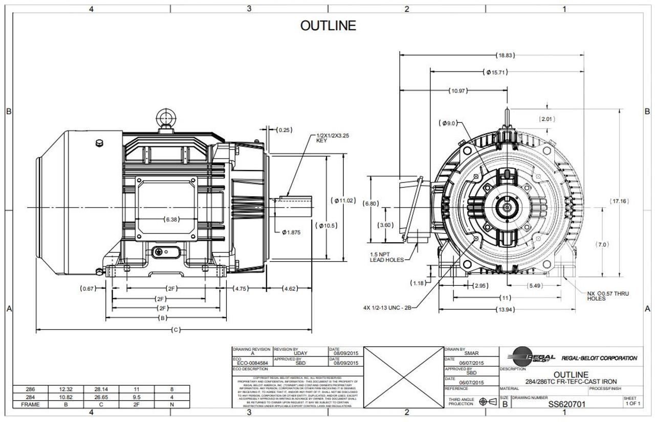 30 hp 1800 RPM 286TC Frame TEFC C-Face (Rigid Base) 230