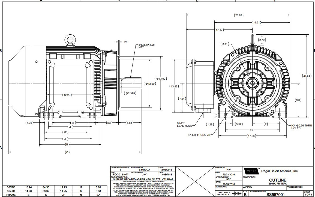 60 hp 1800 RPM 364TC Frame TEFC C-Face (Rigid Base) 230