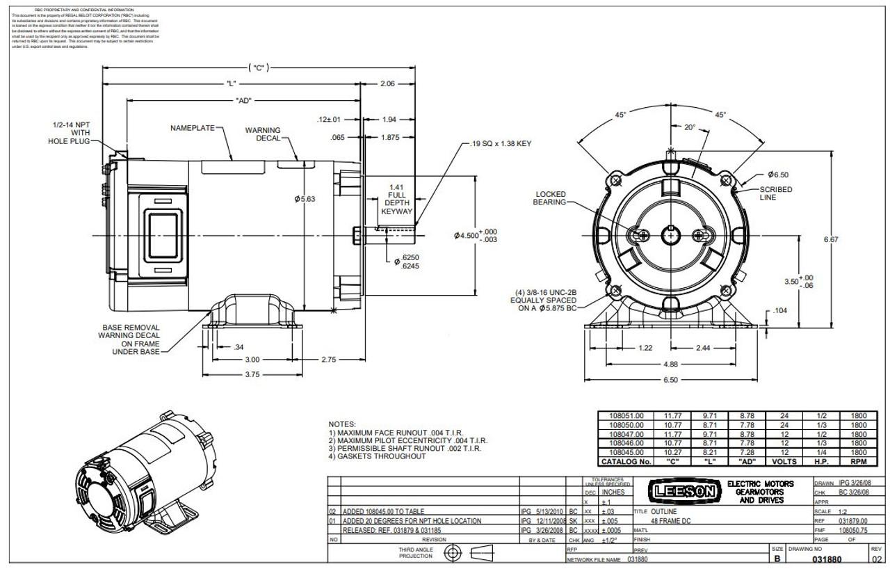 1/3 hp 1800 RPM 56C Frame 12 Volts DC TENV Leeson Electric